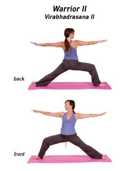 yoga y chakra postura guerrera