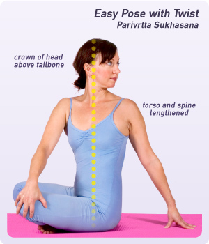 how to do easy pose with twist  yogaoutlet