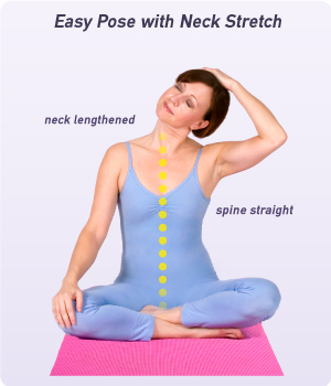 how to do easy pose with neck stretch