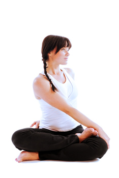 how to do revolved half lotus pose in yoga
